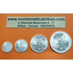 MEXICO 1/20 + 1/10 + 1/4 + 1/2 ONZA 2014 ANGEL ALADO 4 MONEDAS DE PLATA PURA SC Mejico silver FRACCIONES DE ONZA OZ