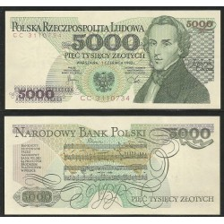 POLONIA 5000 ZLOTY 1982 FRYDERYK CHOPIN PARTITURA MUSICAL Pick 150A BILLETE SC Poland 5000 Zlotych UNC BANKNOTE