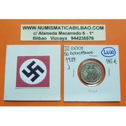 ALEMANIA 50 REICHSPFENNIG 1939 J AGUILA SOBRE ESVASTICA NAZI KM.95 MONEDA DE NICKEL @LUJO y RARA@ III REICH WWII