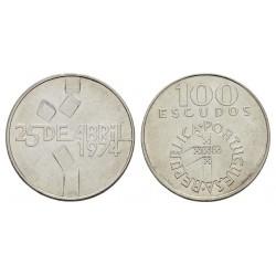 PORTUGAL 100 ESCUDOS 1976 CARNATION REVOLUTION 25 DE ABRIL DE 1974 KM.603 MONEDA DE PLATA SC Portugal 100 Escudos 1974
