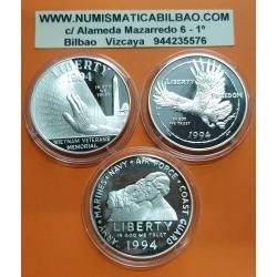 @3 MONEDAS@ ESTADOS UNIDOS 1 DOLAR 1994 P VIETNAM WAR US VETERANS MEMORIAL PLATA PROOF USA silver dollar CAPSULAS