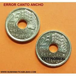@ERROR CANTO ANCHO@ ESPAÑA 25 PESETAS 1996 LETRAS PEGADAS AL CANTO MONEDA DE LATON SC
