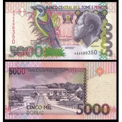 SANTO TOME y PRINCIPE 5000 DOBRAS 2004 REY AMADOR y PAJRO Pick 65 BILLETE SC UNC BANKNOTE