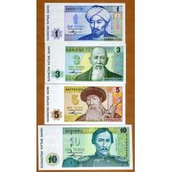 KAZAJISTAN 1+3+5+10 TENGE 1993 PERSONAJES y PAISAJES Pick 7+8+9+10 SC 4 BILLETES Kazajastan Kazakhstan UNC BANKNOTE