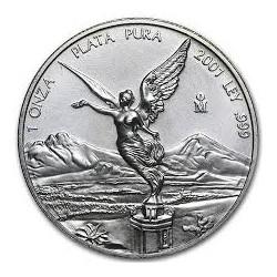 MEXICO 1 ONZA 2001 ANGEL LIBERTAD MONEDA DE PLATA PURA 999 SC Mejico Silver coin OZ OUNCE