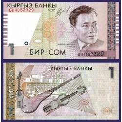 KIRIGUISTAN 1 SOM 1999 EX-PRESIDENTE y GUITARRAS Pick 15 BILLETE SC Kirguistan Kyrgyzstan UNC BANKNOTE