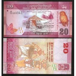 SRI LANKA 20 RUPIAS 2010 BUHO, BARCO y BAILARINES Pick 123 BILLETE SC 20 Rupees UNC BANKNOTE Ceylon