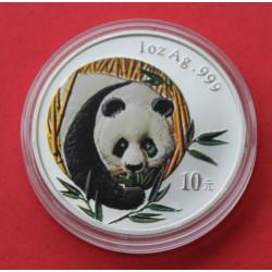CHINA 10 YUAN 2003 OSO PANDA @EDICION A COLORES@ PAGODA MONEDA DE PLATA SC 1 OZ ONZA OUNCE TROY Silver coin
