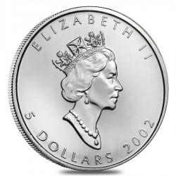 CANADA 5 DOLARES 2002 HOJA DE ARCE MONEDA DE PLATA PURA SC $5 Dollars Coin OZ OUNCE MAPLE LEAF