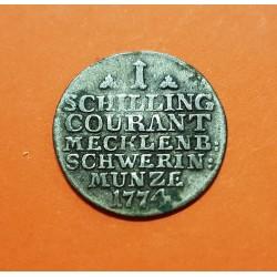 @ESTADO DE MECKLENBURG SCHWERIN@ ALEMANIA 1 SCHILLING COURANT 1774 F CORONADA MONEDA DE PLATA KM.204