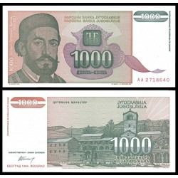 YUGOSLAVIA 1000 DINARA 1994 ANDRIK BELGRADO e IGLESIA Pick 140 BILLETE SC UNC BANKNOTE