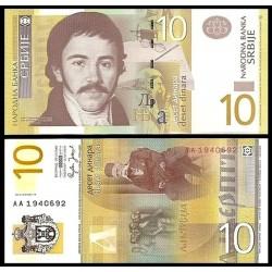 SERBIA 10 DINARA 2006 VUK STEFANOVIC y ESCUDO Pick 46 BILLETE SC UNC BANKNOTE 20 Dinares EX-YUGOSLAVIA