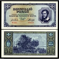 HUNGRIA 1000000 PENGO 1945 CUADRO ROMANTICO y LAGO Color AZUL Pick 122 BILLETE SC Hungary UNC BANKNOTE 1 Millón