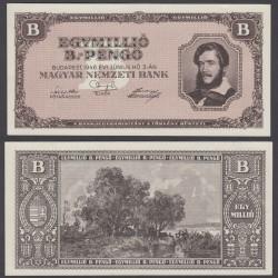 HUNGRIA 1000000 PENGO 1946 CUADRO ROMANTICO y LAGO Color BEIGE Pick 134 BILLETE SC Hungary UNC BANKNOTE 1 Millón