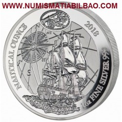 @1 ONZA 2018@ RUANDA 50 FRANCOS 2018 Nautical Ounce HMS ENDEAVOUR MONEDA DE PLATA SC OZ silver Rwanda 50 Francs
