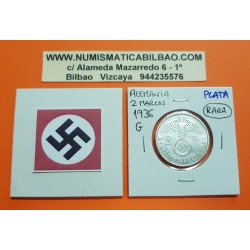 ALEMANIA 2 MARCOS 1936 G AGUILA y ESVASTICA NAZI III REICH KM.93 MONEDA DE PLATA Germany 2 Reichsmark @RARA@