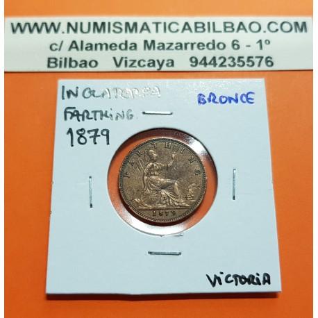 INGLATERRA 1 FARTHING 1879 REINA VICTORIA y BRITANNIA KM.753 MONEDA DE BRONCE MBC @ESCASA@ United Kingdom Great Britain