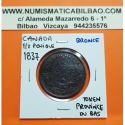 CANADA 1/2 PENIQUE 1837 MONTREAL BANK TOKEN PROVINCE DU BAS KM.TN.7 MONEDA DE BRONCE Half Penny