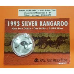 AUSTRALIA 1 DOLAR 1993 CANGURO MONEDA DE PLATA SC SILVER Kangaroo Känguru $1 Dollar OZ ONZA OUNCE @BLISTER@