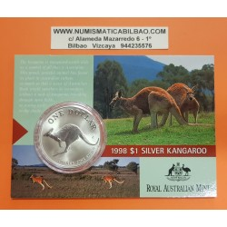 AUSTRALIA 1 DOLAR 1998 CANGURO MONEDA DE PLATA SC SILVER Kangaroo Känguru $1 Dollar OZ ONZA OUNCE @BLISTER@