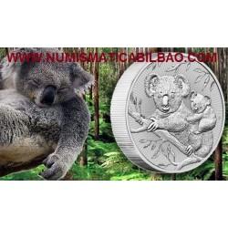 @2 ONZAS 2018@ AUSTRALIA 2 DOLARES 2018 KOALA EN RAMA MONEDA DE PLATA PURA SC $2 Dollars Coin OZ OUNCE silver bullion
