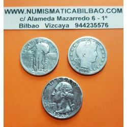 3 monedas x ESTADOS UNIDOS 25 CENTAVOS 1900 BARBER + 25 CENTAVOS ??? STANDING LIBERTY + 25 CENTAVOS 1964 WASHIGTON PLATA