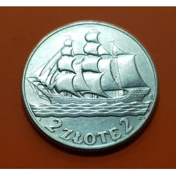 POLONIA 2 ZLOTY 1936 W BARCO VELERO GDYNIA KM.30 MONEDA DE PLATA EBC Poland 2 Zlote Zlotych silver coin
