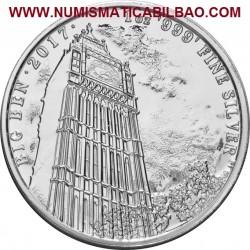 @1 ONZA 2017@ INGLATERRA 2 LIBRAS 2017 LANDMARKS OF BRITAIN 1ª MONEDA BIG BEN PLATA PURA SC 2 Pounds silver OZ