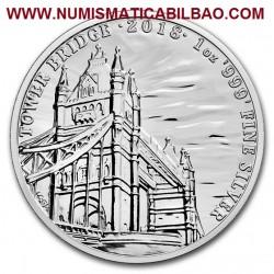 @1 ONZA 2018@ INGLATERRA 2 LIBRAS 2018 LANDMARKS OF BRITAIN 2ª MONEDA TOWER BRIDGE PLATA PURA SC 2 Pounds silver OUNCE OZ