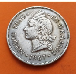 REPUBLICA DOMINICANA 1/2 PESO 1967 DAMA KM.21 A MONEDA DE NICKEL MBC Dominican Republic
