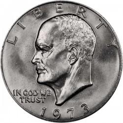 ESTADOS UNIDOS 1 DOLAR 1973 P EISENHOWER y AGUILA SOBRE LA LUNA KM.203 MONEDA DE NICKEL SC USA $1 Dollar