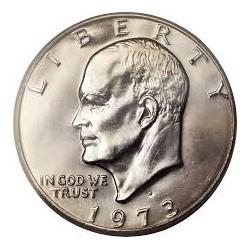 ESTADOS UNIDOS 1 DOLAR 1973 D EISENHOWER y AGUILA SOBRE LA LUNA KM.203 MONEDA DE NICKEL SC USA $1 Dollar