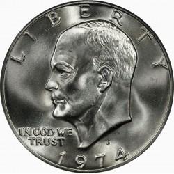 ESTADOS UNIDOS 1 DOLAR 1974 D EISENHOWER y AGUILA SOBRE LA LUNA KM.203 MONEDA DE NICKEL SC USA $1 Dollar