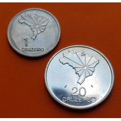 2 monedas x BRASIL 20 CRUZEIROS 1972 PLATA KM.583 + 1 CRUZEIRO 1972 NICKEL KM.582 DICTADURA MILITAR SC Brazil