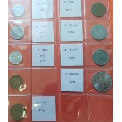 9 monedas x ARGELIA 5+5+5+25+50+50 MILLIEMES y 1+1+5 DINARES 1964 y 1972 ANIVERSARIO VARIOS METALES Algeria Algerie