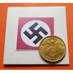 ALEMANIA 10 REICHSPFENNIG 1938 F AGUILA SOBRE ESVASTICA NAZI KM.92 MONEDA DE LATON SC- Germany 2