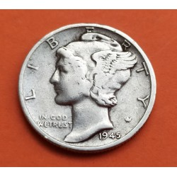 USA 10 CENTS DIME 1945 S MERCURY SILVER XF-