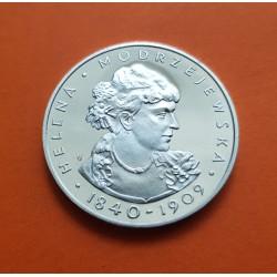 POLONIA 100 ZLOTY 1975 BUSTO HELENA MODJESTA KM.78 MONEDA DE PLATA PROOF Poland 100 Zlotych