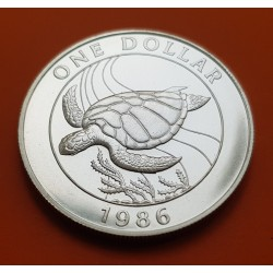 .BERMUDA 1 DOLAR 1986 WWF TORTUGA KM*49A PLATA Silver Dollar