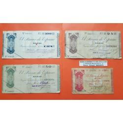 EUSKADI BILBAO Serie de 4 Billetes 5+25+50+100 PESETAS 1936 GOBIERNO DE EUZKADI EN LA GUERRA CIVIL BANCO DE ESPAÑA (7)