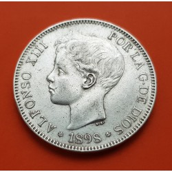 ALFONSO XIII 5 PESETAS 1896 * 18/96 SGV PLATA EBC-- ESPAÑA 1