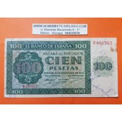 ESPAÑA 100 PESETAS 1936 CATEDRAL DE BURGOS Serie V 866383 Pick 101 BILLETE MUY CIRCULADO Spain banknote