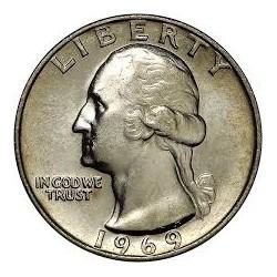 ESTADOS UNIDOS 1/4 DOLAR 1969 S WASHINGTON PROOF NICKEL QUARTER