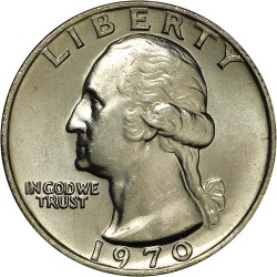ESTADOS UNIDOS 1/4 DOLAR 1970 S WASHINGTON PROOF NICKEL QUARTER