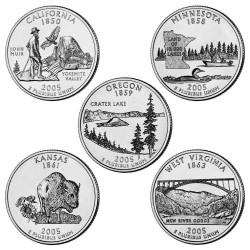 USA 1/4 DOLAR 2005 SET 5 monedas US QUARTER DOLLAR