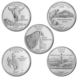 USA 1/4 DOLAR 2007 SET 5 monedas US QUARTER DOLLAR