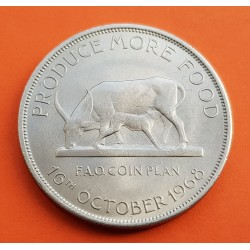 UGANDA 5 SHILLINGS 1968 VACA AFRICANA FAO KM.7 MONEDA DE NICKEL SC Africa Central Bank Of