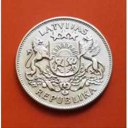 LETONIA 2 LATI 1925 BELLO ESCUDO y VALOR KM.8 MONEDA DE PLATA EBC Latvia silver coin 2 LATS