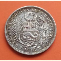PERU 1/2 SOL 1916 F.G. Ceca de Lima DAMA SENTADA KM.203 MONEDA DE PLATA MBC+ @ESCASA@ República Peruana