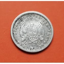 URUGUAY 20 CENTIMOS 1942 DAMA y ESPIGAS PLATA EBC SILVER